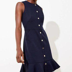 LOFT Gilded Button Flounce Pocket Dress